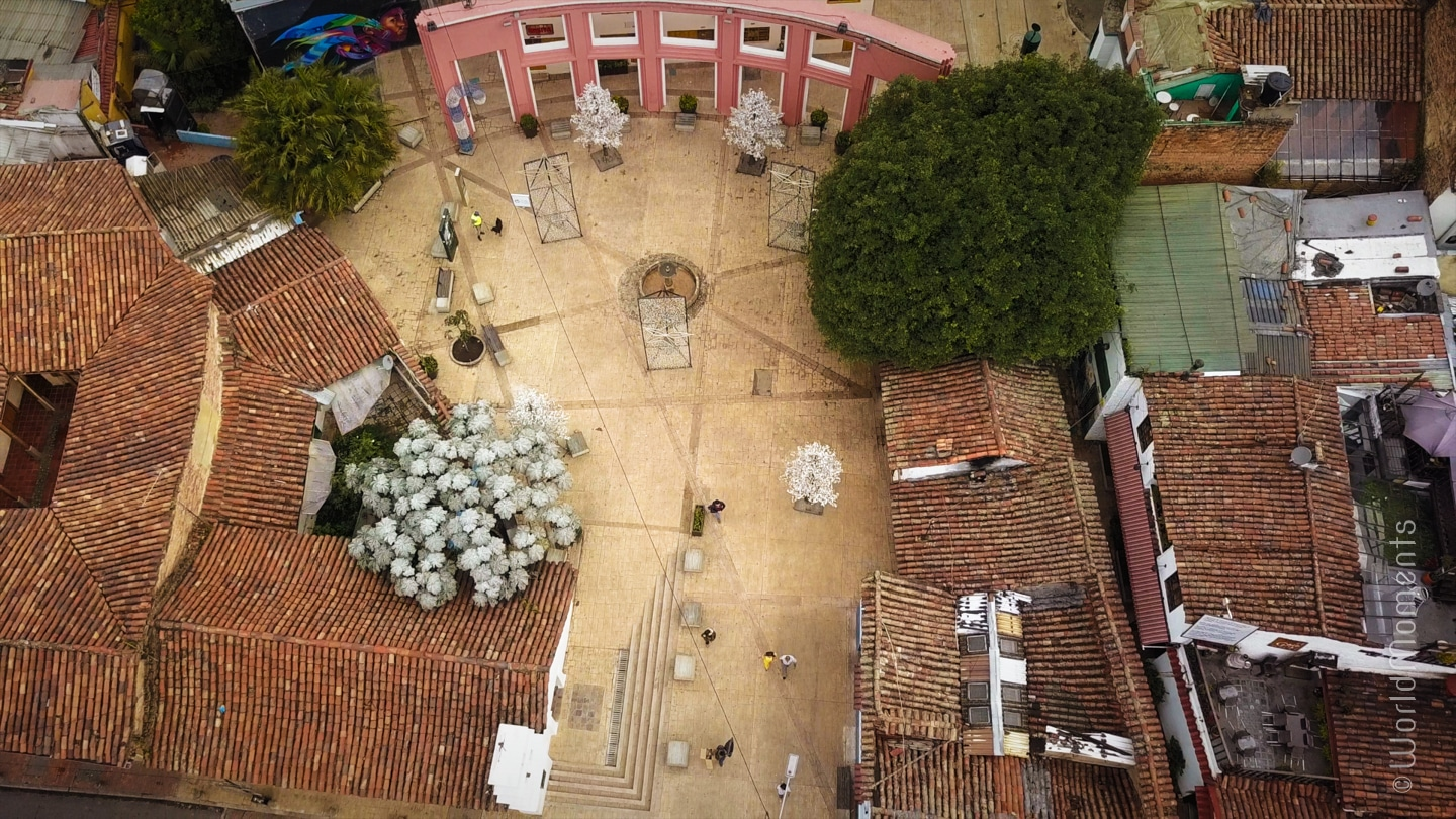 bogota chorro de queued square view from drone
