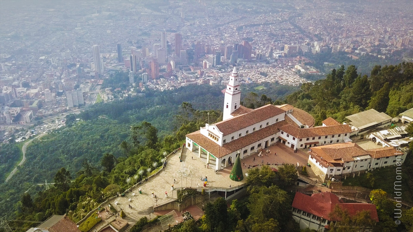 bogota monserrate view from drone