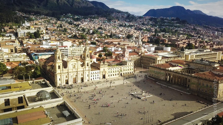 bolivar square bogota drone view