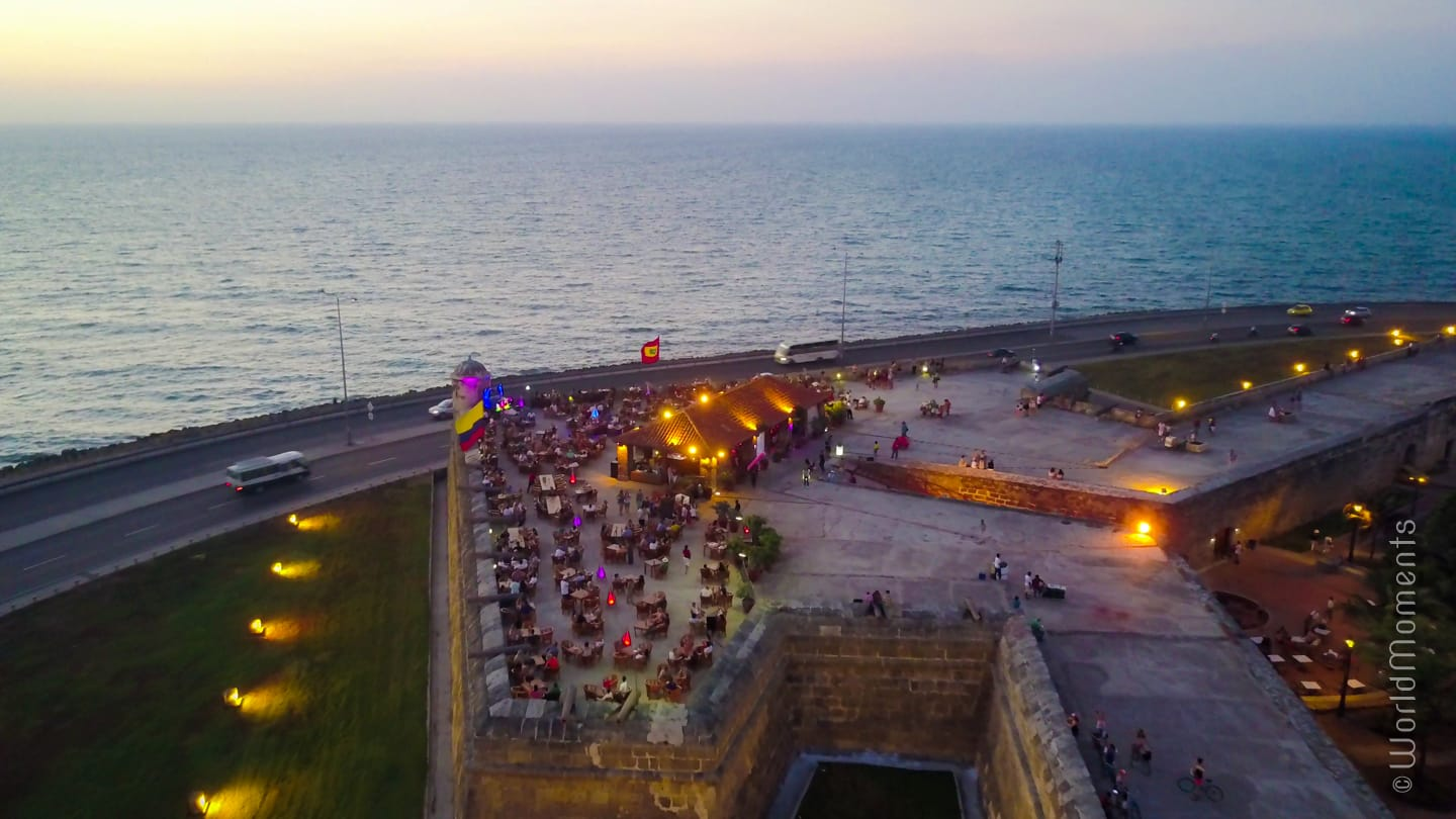 cartagena cafe del mar shot by drone