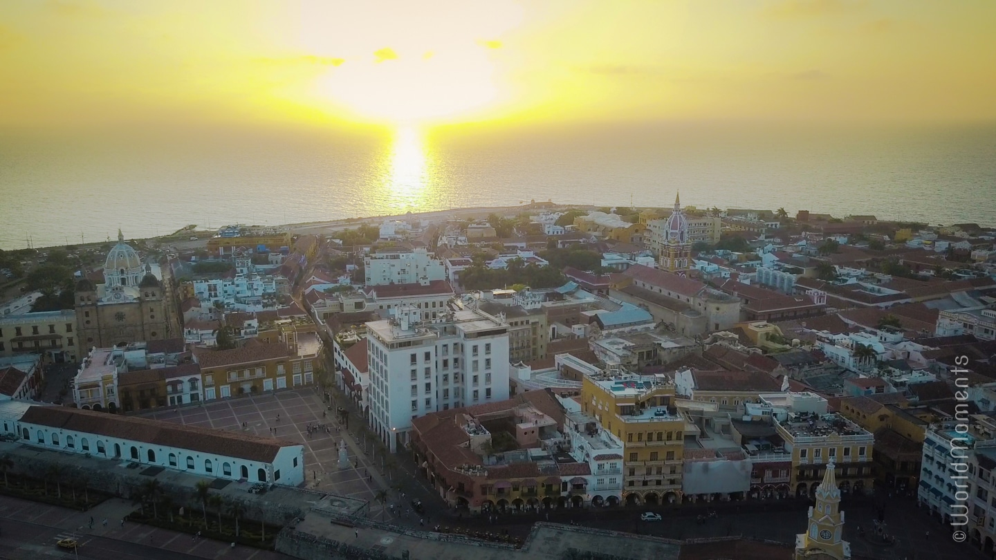 Cartagena historic centre sunset shot by drone