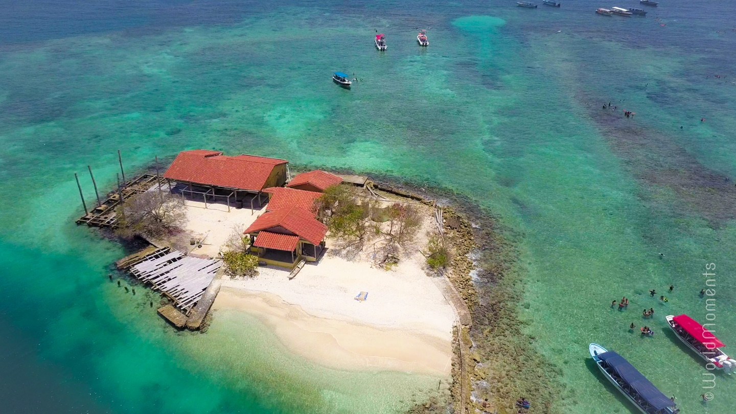 Rosario Islands - Majayura Island: Small protected island from a drone perspective
