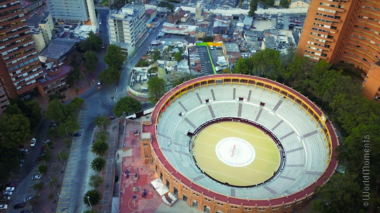 bogota plaza de toros shot by drone