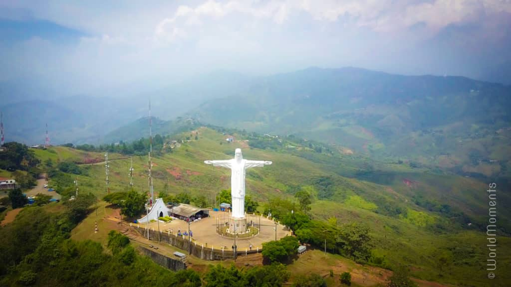 cali cristo rey in mountains drone view