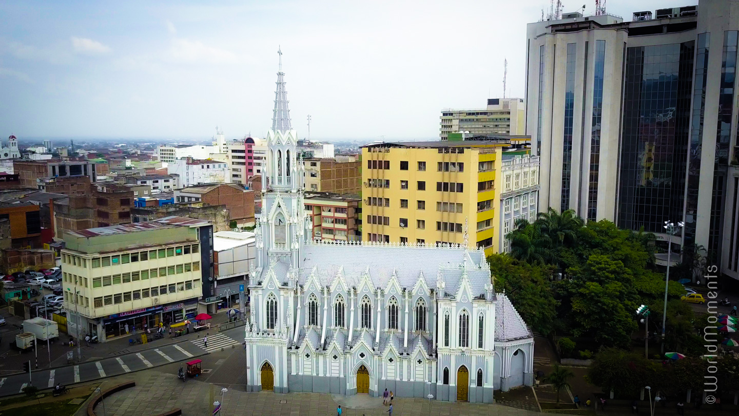 vite of ermita church in cali shot by drone