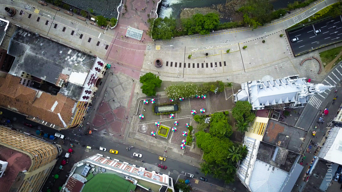 view of poetry park in cali shot by drone