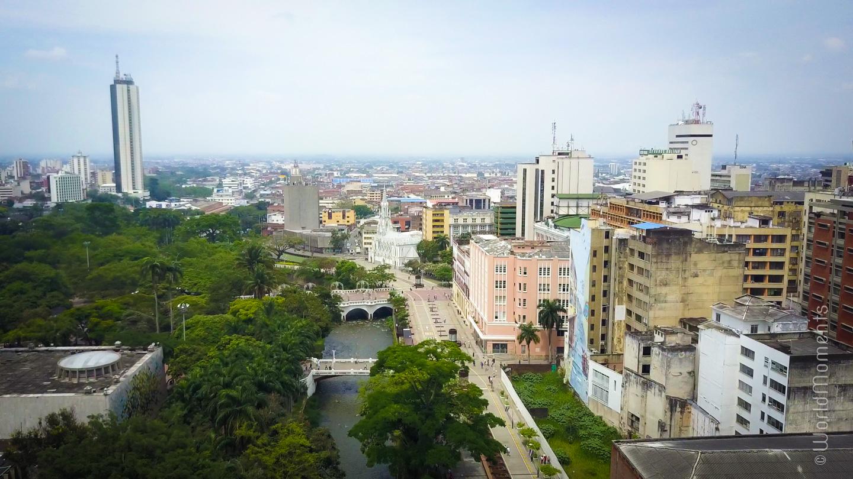 simon bolivar park in cali shot by drone