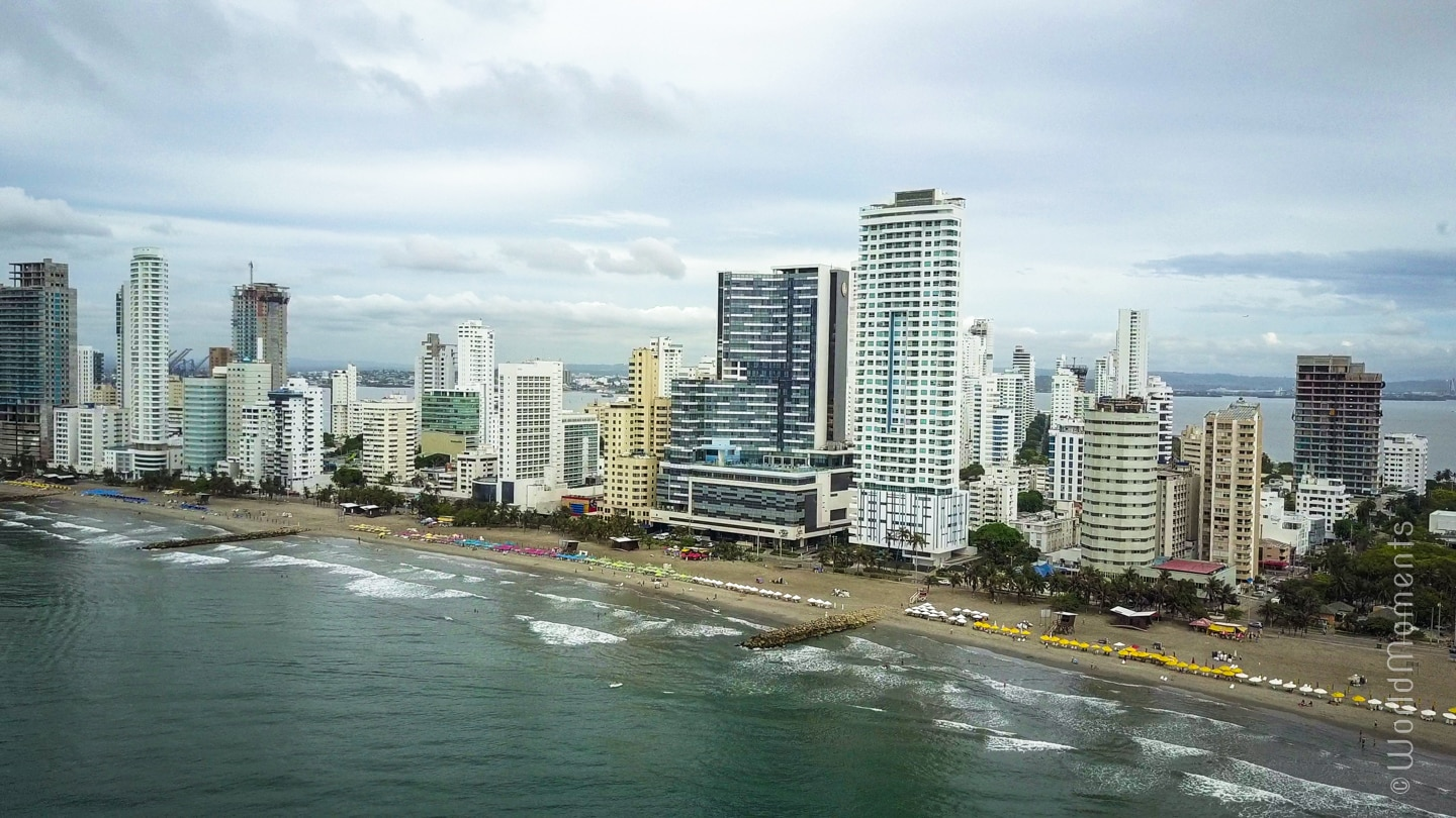 Cartagena bocagrande beach top view