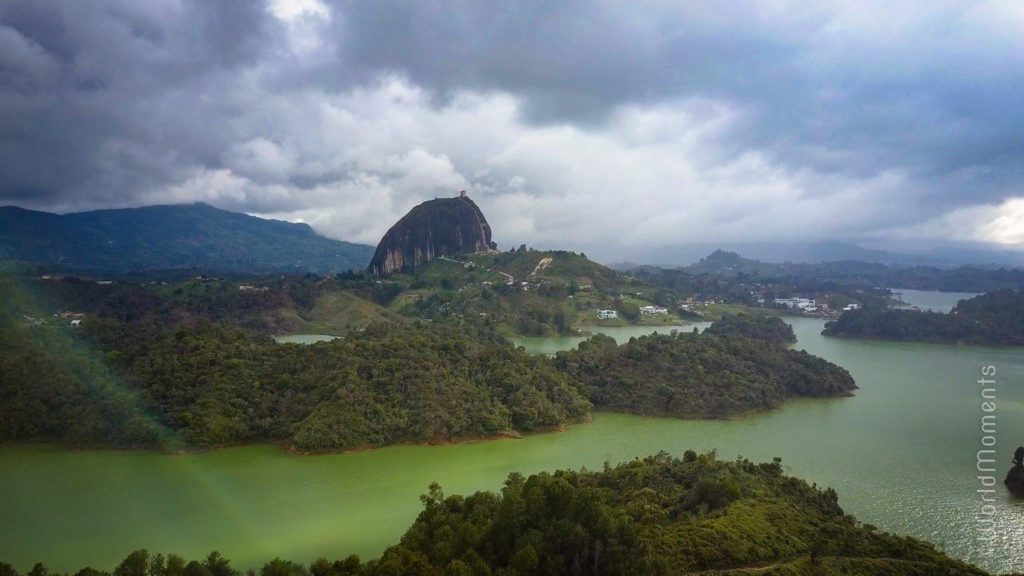 guatape embalse el penol drone from above