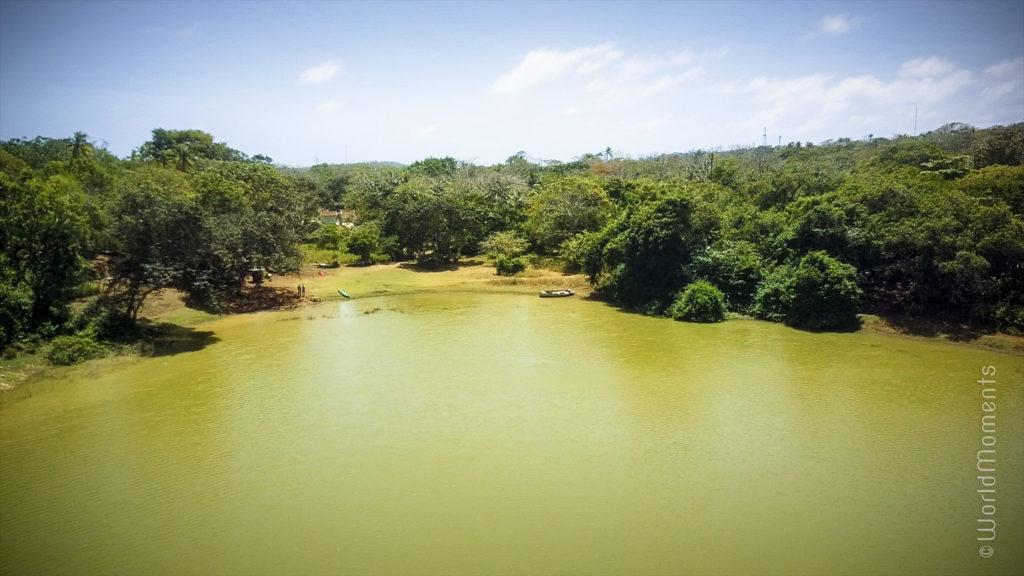 san andres big pond lagoon drone view