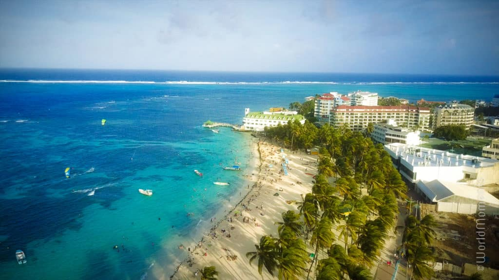 san andres playa principal drone view