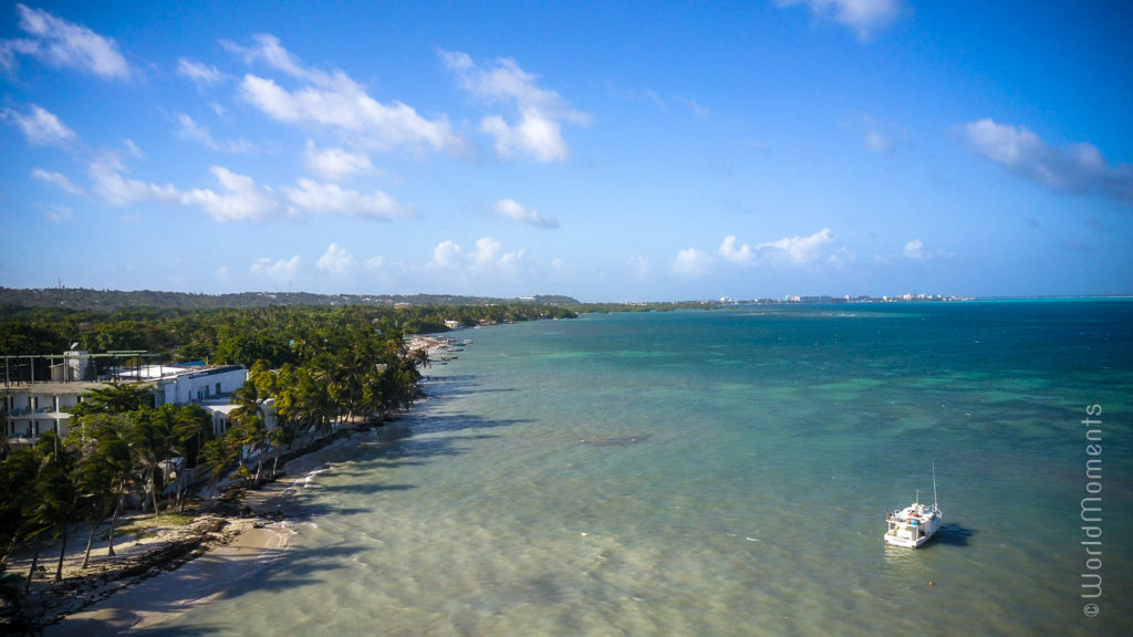 san andres rocky cay beach north drone view