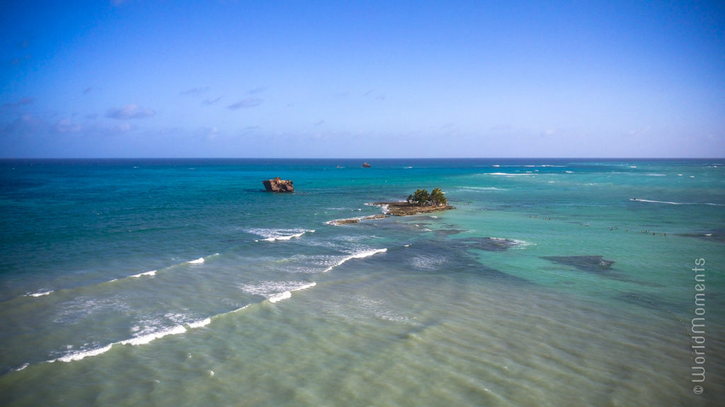 san andres rocky cay drone view