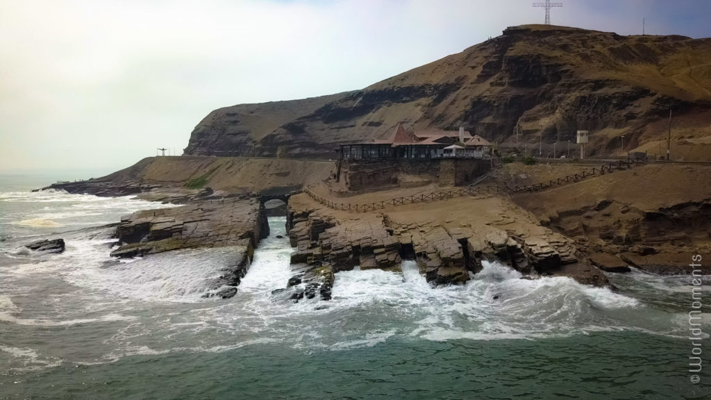 lima salto del fraile view from ocean drone