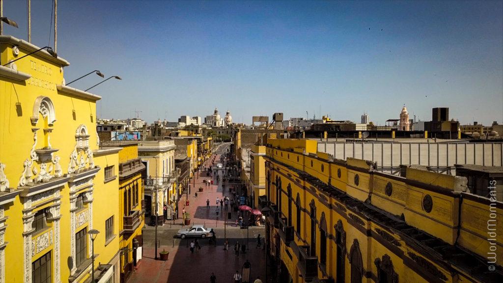 lima jiron trujillo centro historic street drone view
