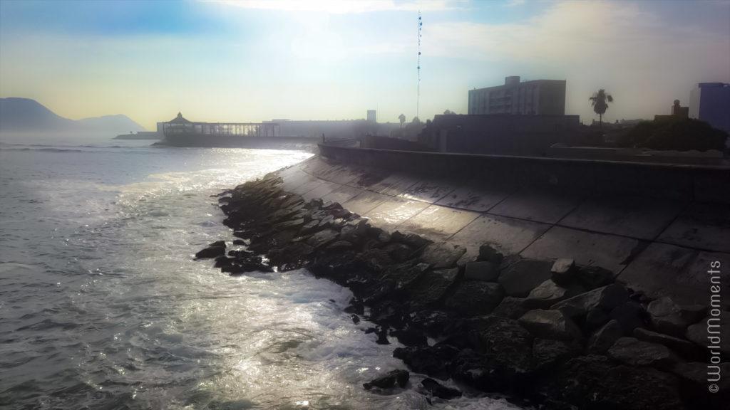 lima la punta callao stone wall drone view