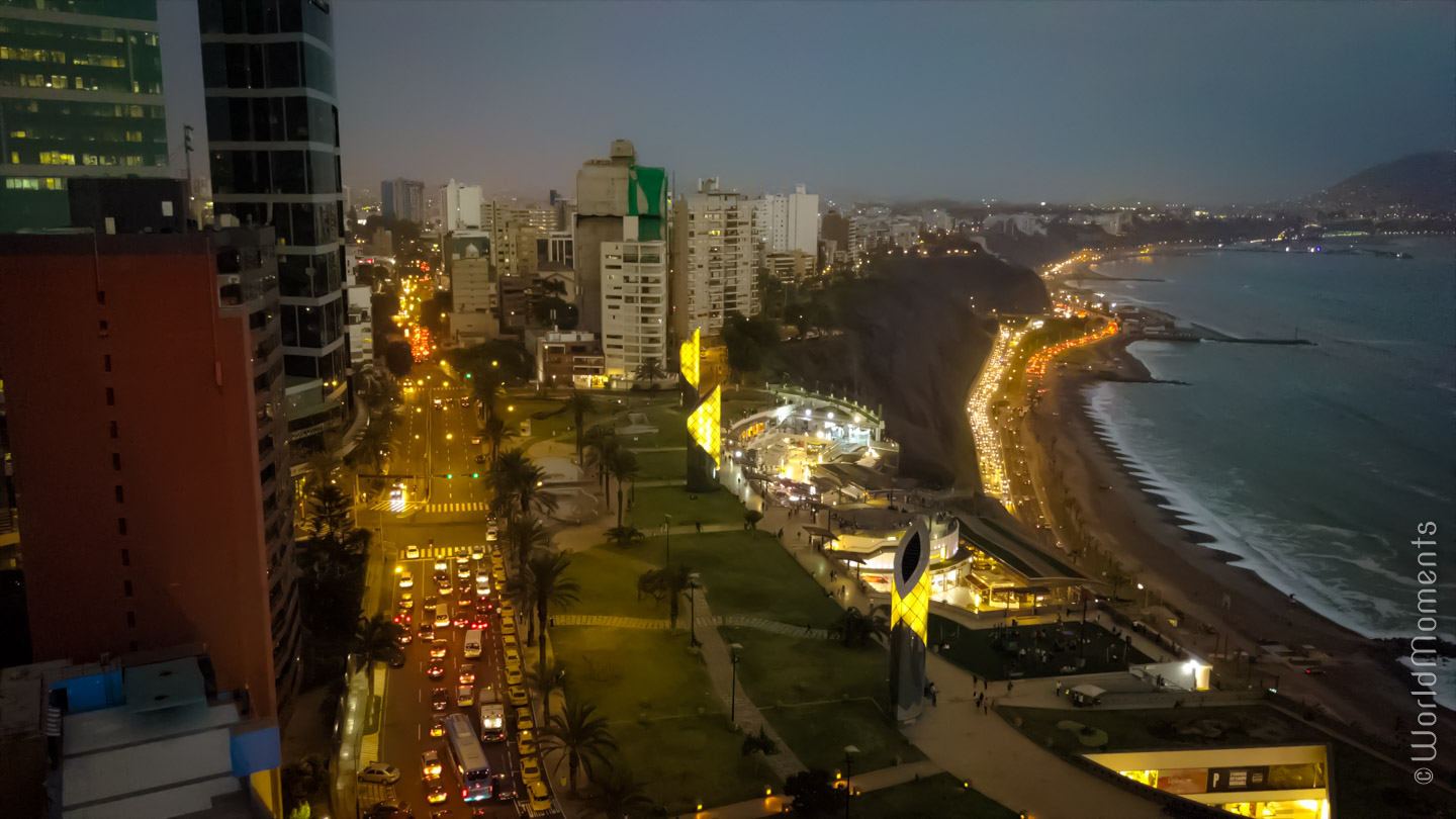 lima larcomar evening drone view with ocean