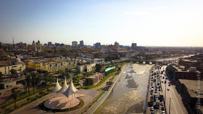 lima malecon del rio centro drone view