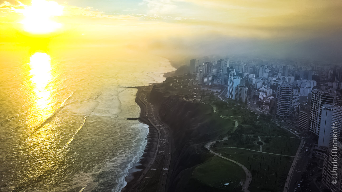 lima miraflores sunset shot by drone