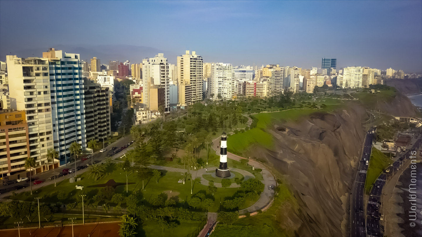 view of antonio raimond park in lima shot by drone