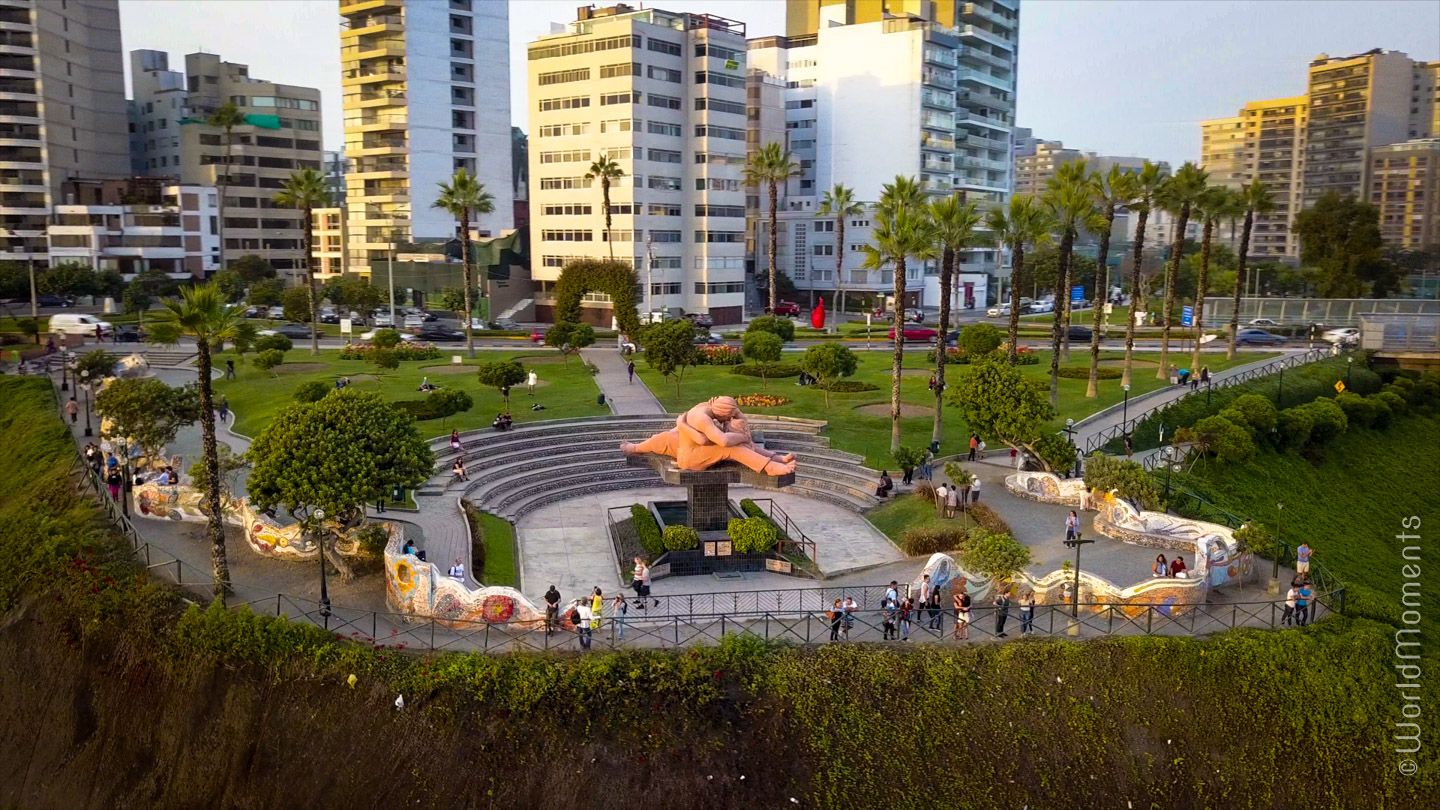 view of the park of love in Lima shot by drone
