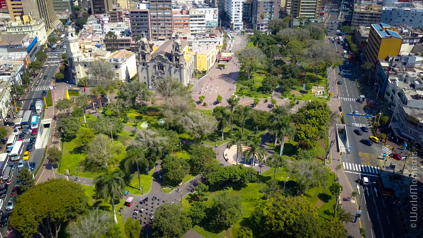 view of kennedy park in lima shot by drone