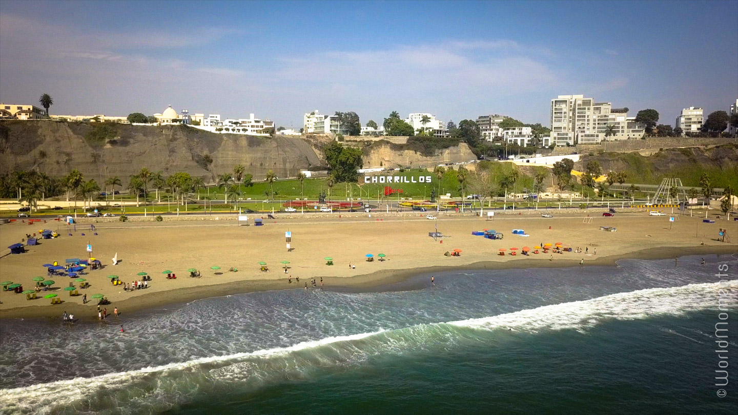 lima playa aqua dulce beach drone view