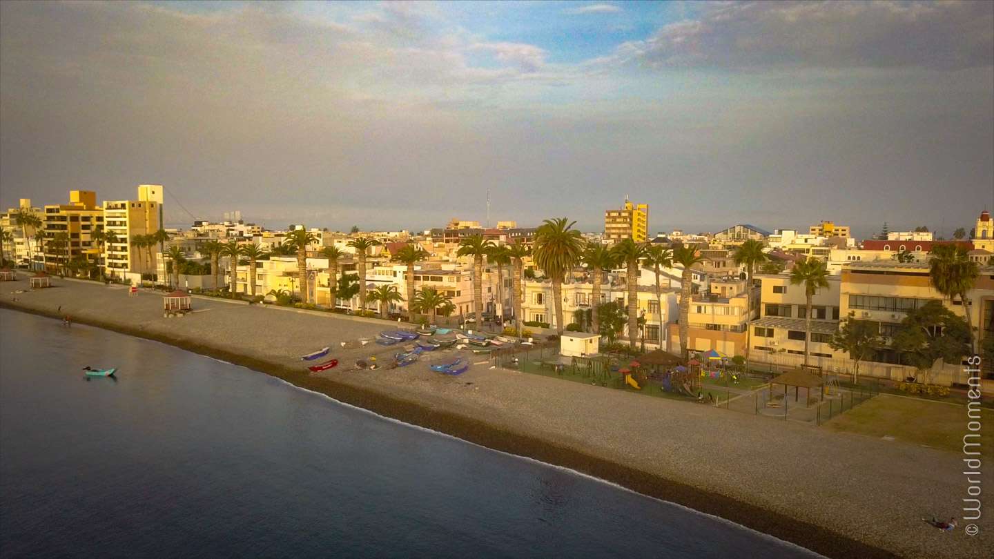 lima playa cantolao sunset drone view