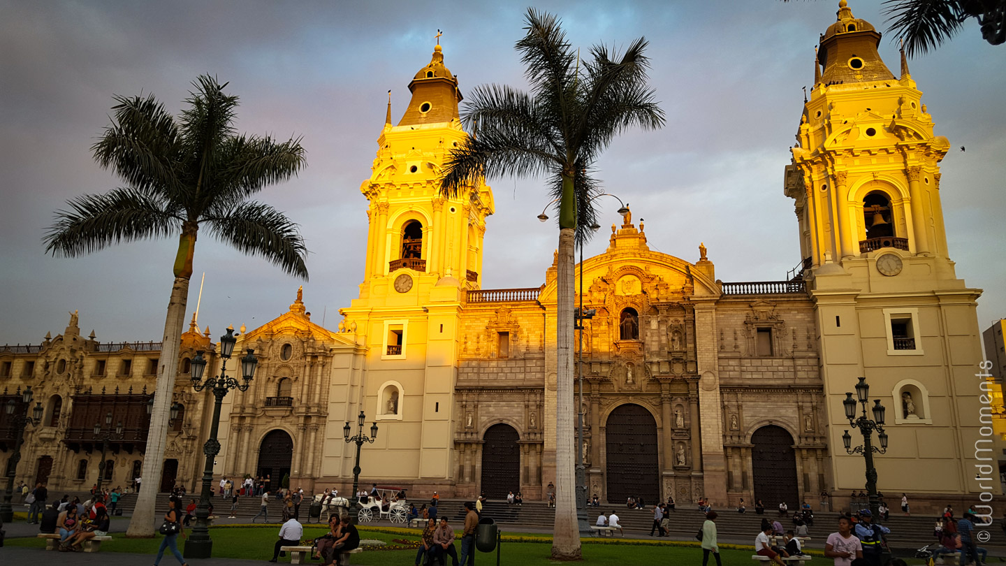 view of the church in plaza de armas in lima