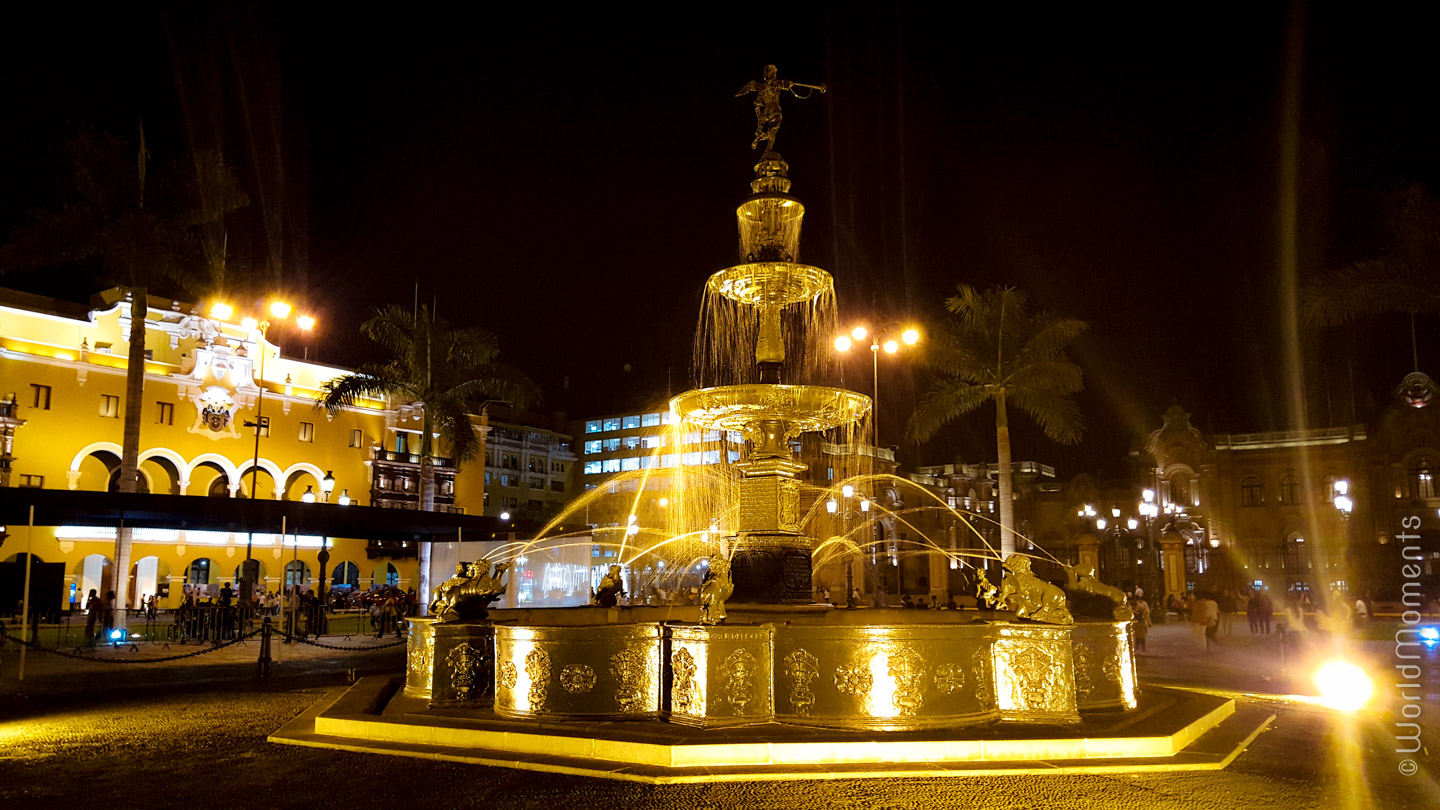 view by night of plaza de armas in lima