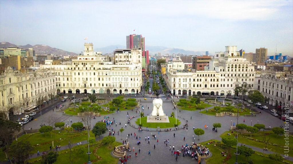 lima plaza san martin drone view
