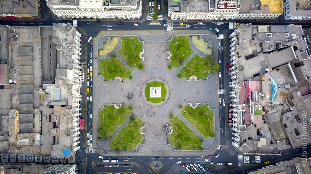 lima plaza san martin birds eye view drone