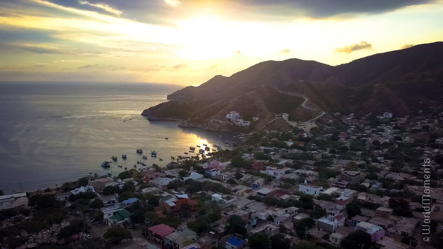 Sunset in Taganga, view of the bay shot with drone