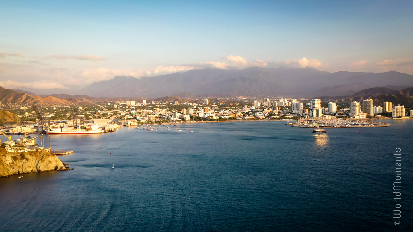 Santa Marta centro view from the sea shot with drone