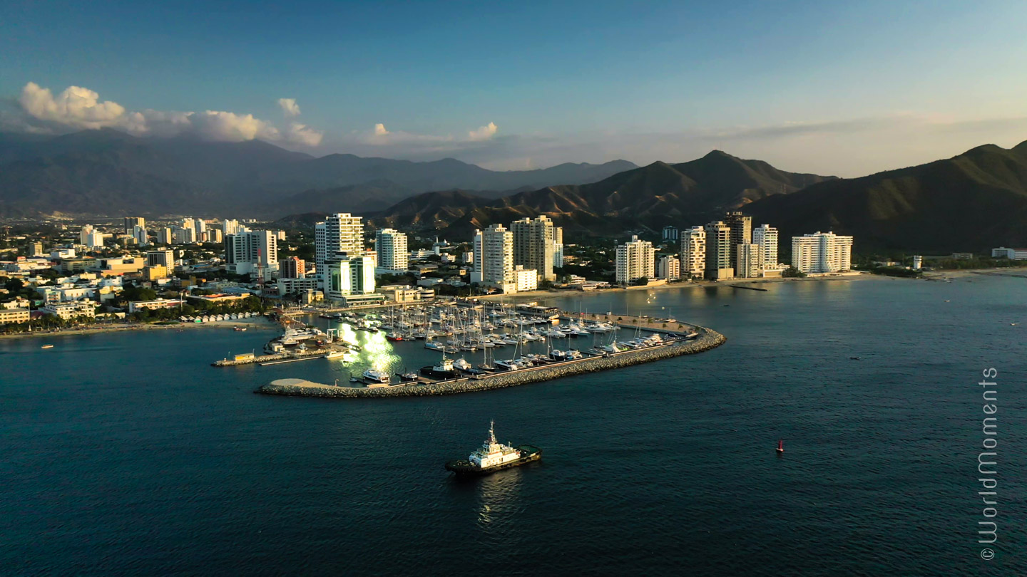 Santa Marta, International Marina, view from the sea