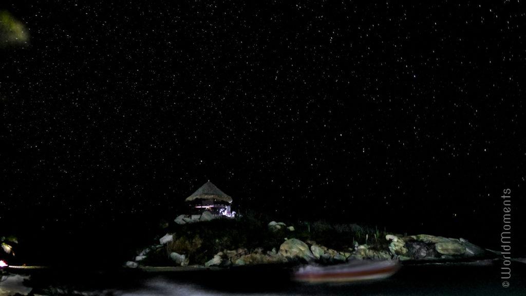 Santa Marta, Parque Tayrona, view of Cabo San Juan shot at night