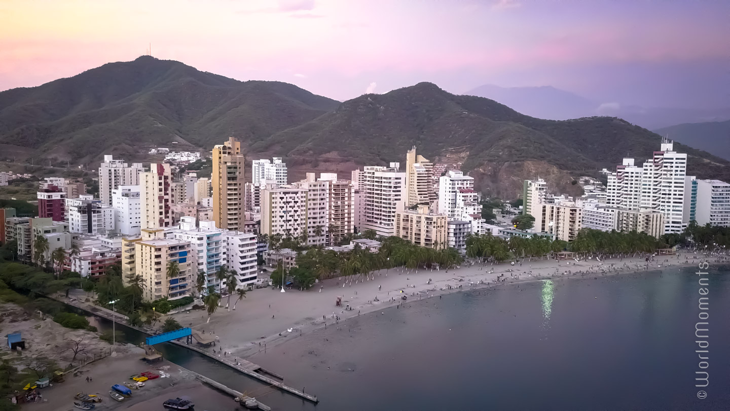 Santa Marta, Rodadero Beach, shot with drone