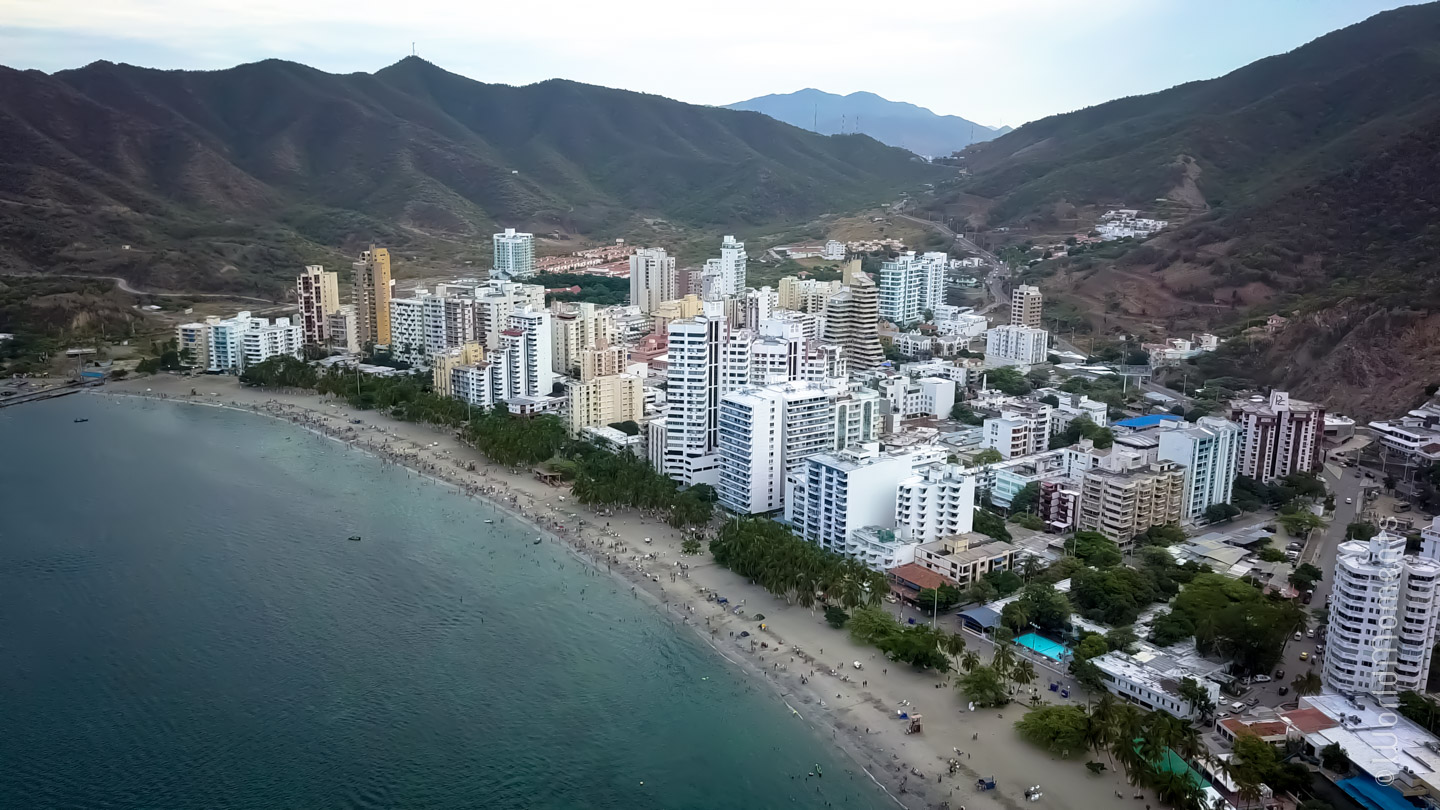 Santa Marta, Rodadero beach shot with drone