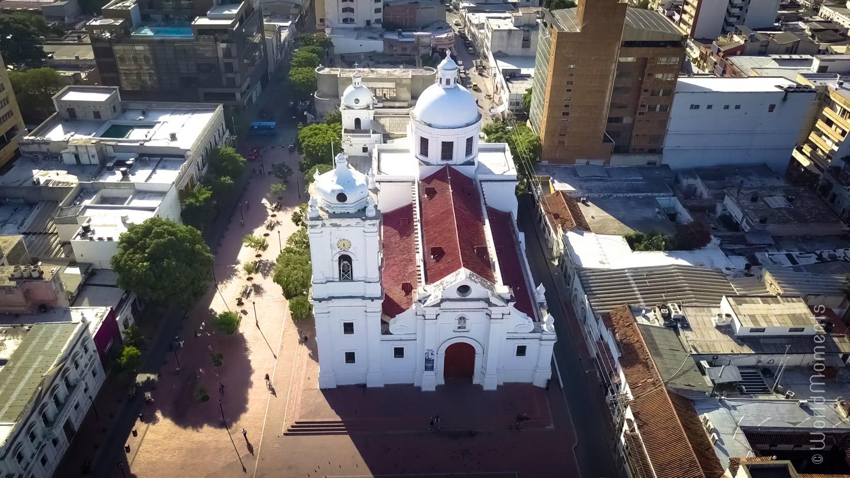 Santa Marta, San Miguel Cathedral shot with drone