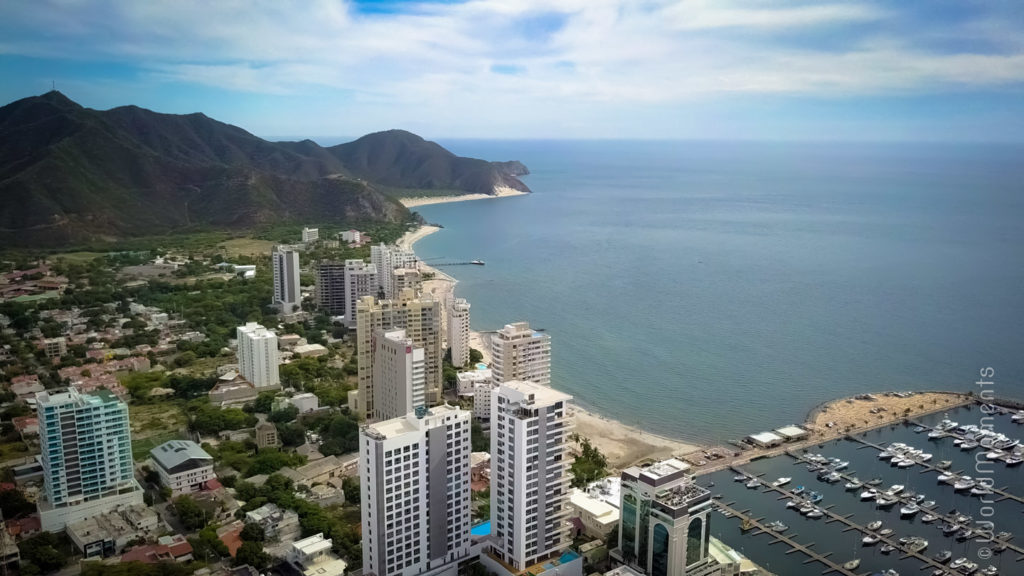 Santa Marta beach shot with drone
