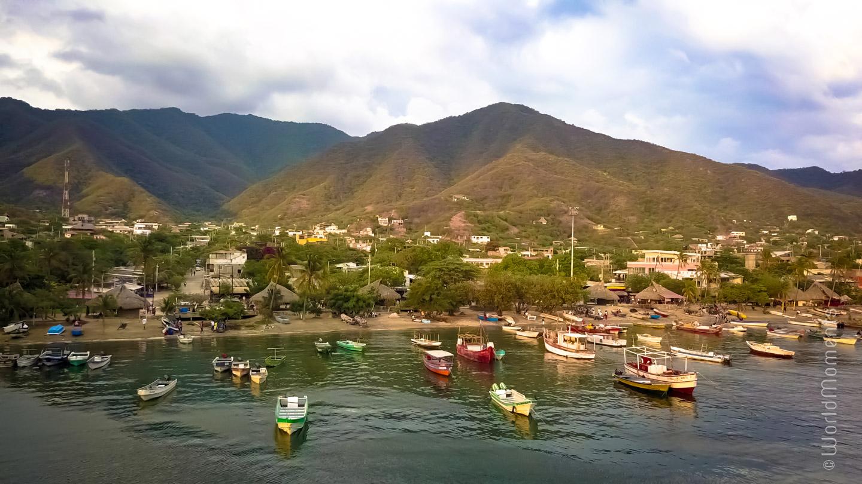 Santa Marta, view of Taganga and boats