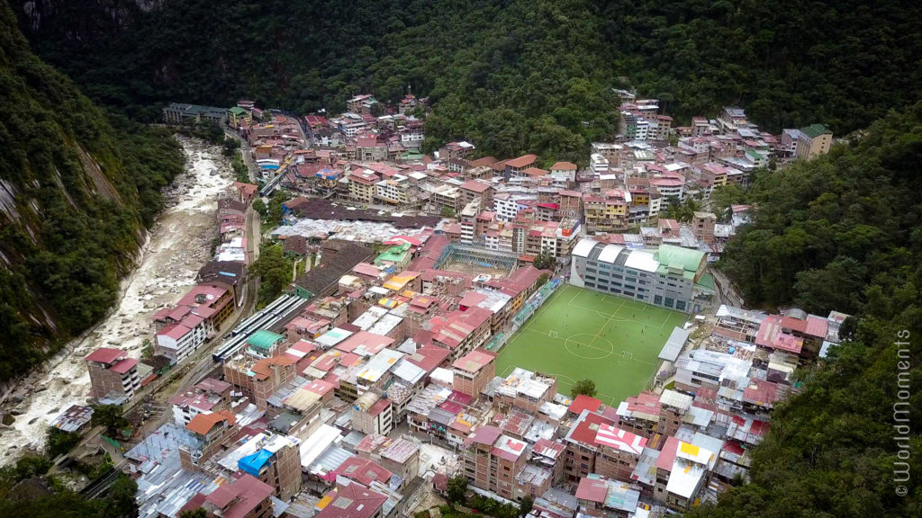 Aguas Calientes Machu Pichu town view from the top