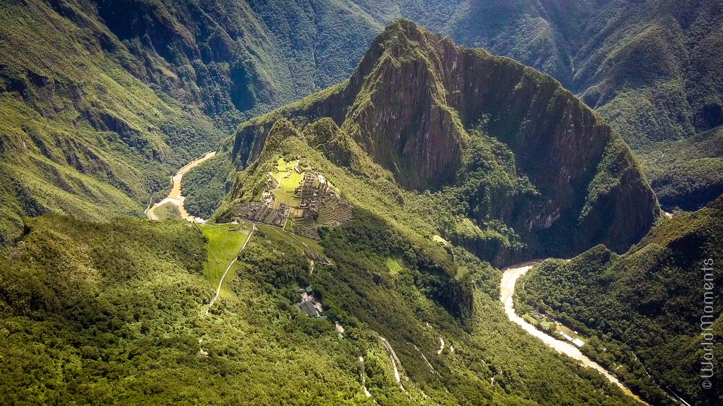 Machu Pichu from the air shot with drone