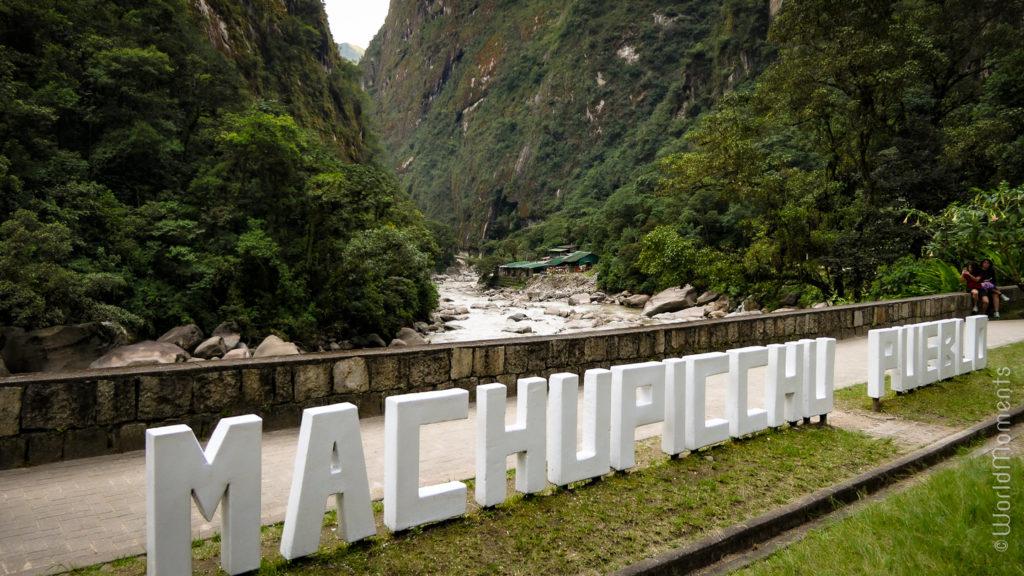 Machu Pichu town view from the bridge