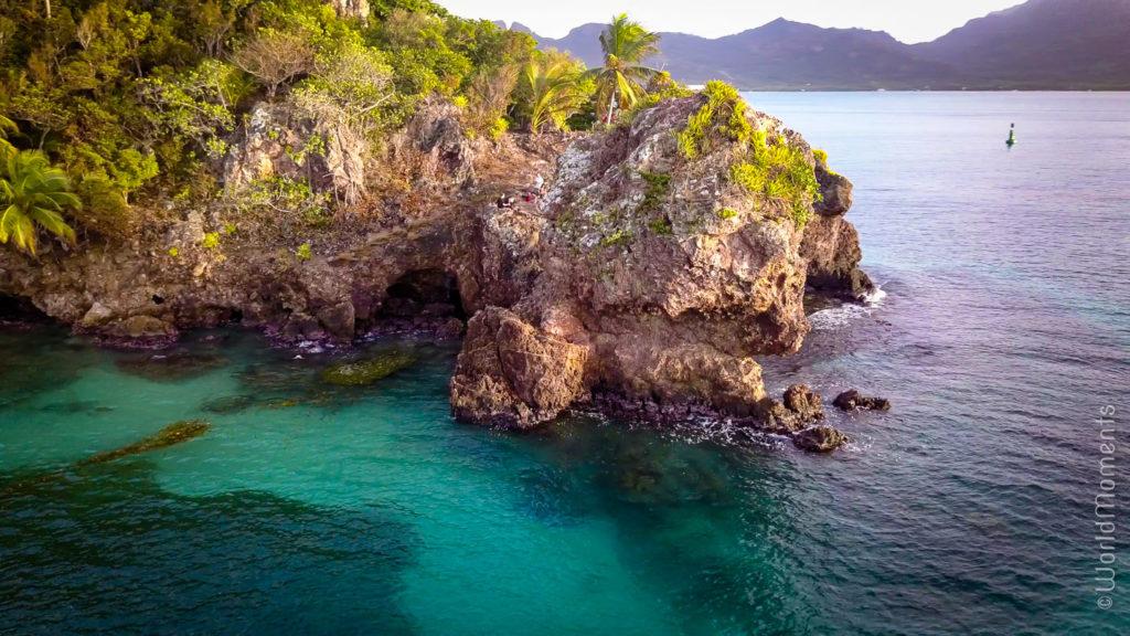 cabeza de morgan vista desde el mar dron